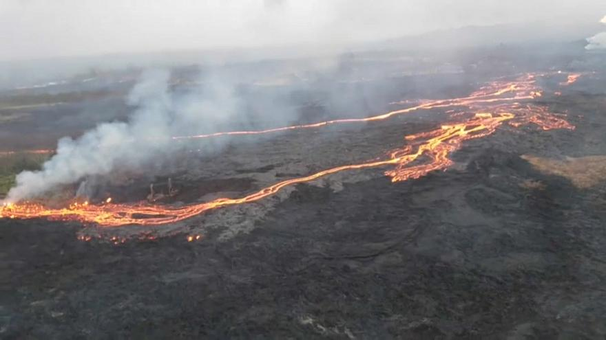 Lava flows in Hawaii