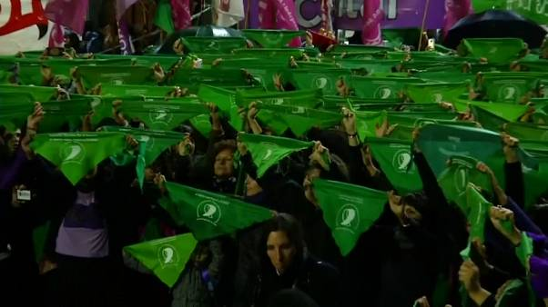 Hundreds of women protest outside Argentina's Congress demanding abortion rights