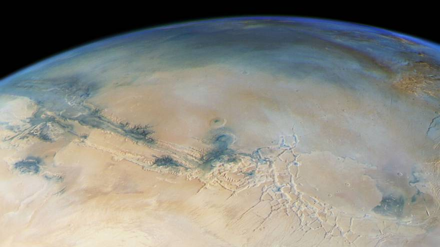 Planet Mars viewed from pole to pole with striking detail