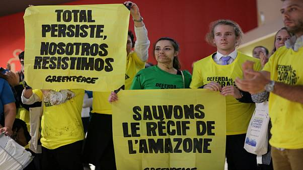 Greenpeace activists protest during Total's annual shareholders meeting