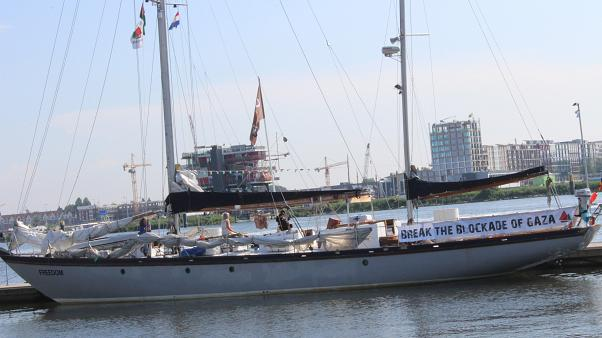 حصري ليورونيوز: سفينة الحرية لكسر حصار غزة ترسو في أمستردام