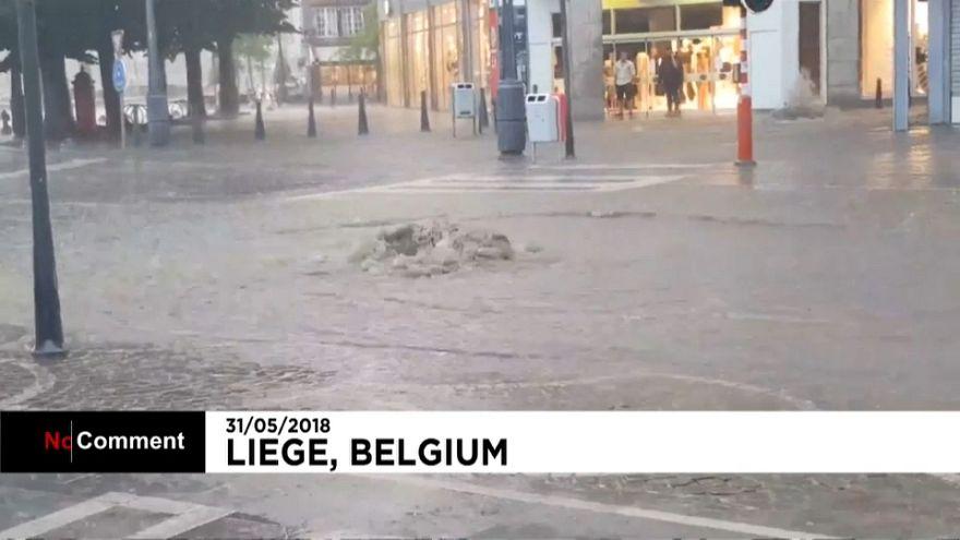 Alcantarillas desbordadas y bajos inundados en Bélgica