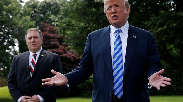 Donald Trump und Mike Pompeo vor dem Weißen Haus