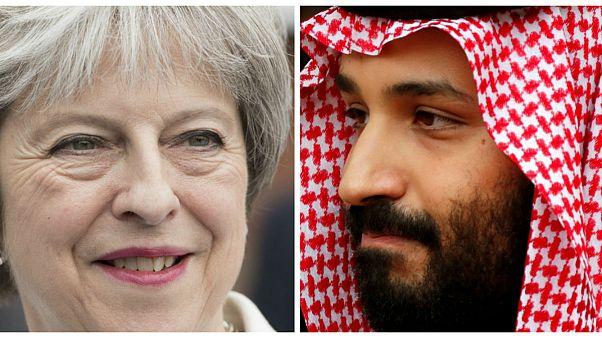 بن سلمان ولیعهد عربستان و ترزا می نخستوزیر بریتانیا