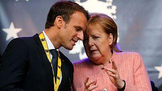 آنگلا مرکل صدراعظم آلمان و امانوئل مکرون رئیسجمهور فرانسه
