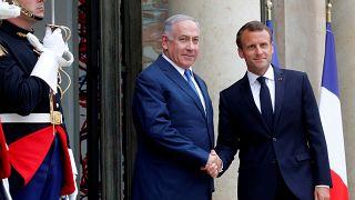 Emmanuel Macron welcomes Benjamin Netanyahu on June 5, 2018.
