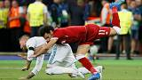 Mohammed Salah tangles with Sergio Ramos