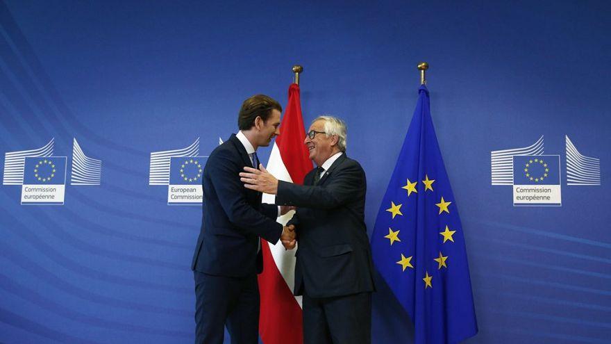 Sebastian Kurz con Jean-Claude Juncker