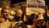 عمال شركة سنترال دانون يحتجون في العاصمة المغربية
