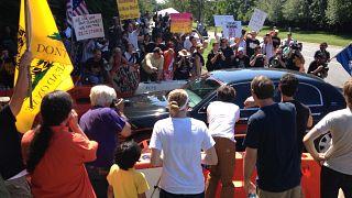 People protest against the 2012 Bilderberg meeting in Virginia, US.