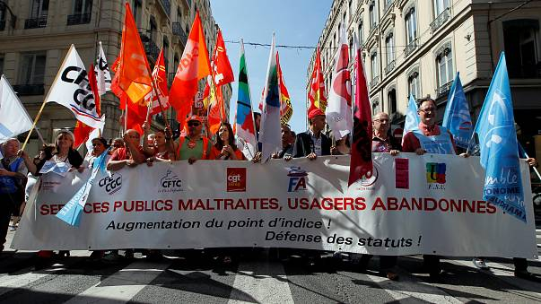 French civil servants during a national day of strike on May 22, 2018