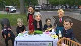 "Oxfam urges G7 leaders to tackle women's inequality with ""Big Heads"" protest"