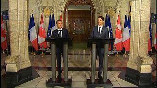 الرئيس الفرنسي ورئيس الوزراء الكندي قبل قمة مجموعة السبع