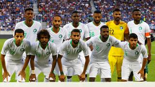 Saudi Arabia players before a match against Italy on May 28, 2018