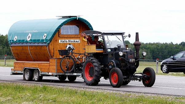 Germany, Wirth , drives his tractor  to FIFA 2018 World Cup in Russia