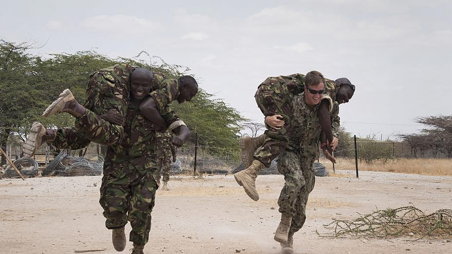 Kenyan and U.S. troops during a combined task force in September 2016.