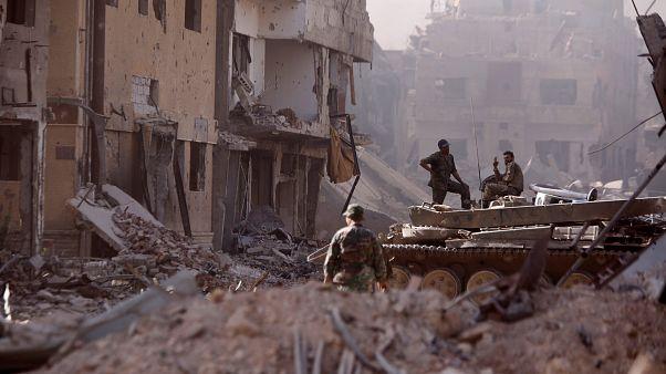 عکس آرشیوی از سربازان ارتش سوریه در منطقه حجر الاسود در جنوب دمشق