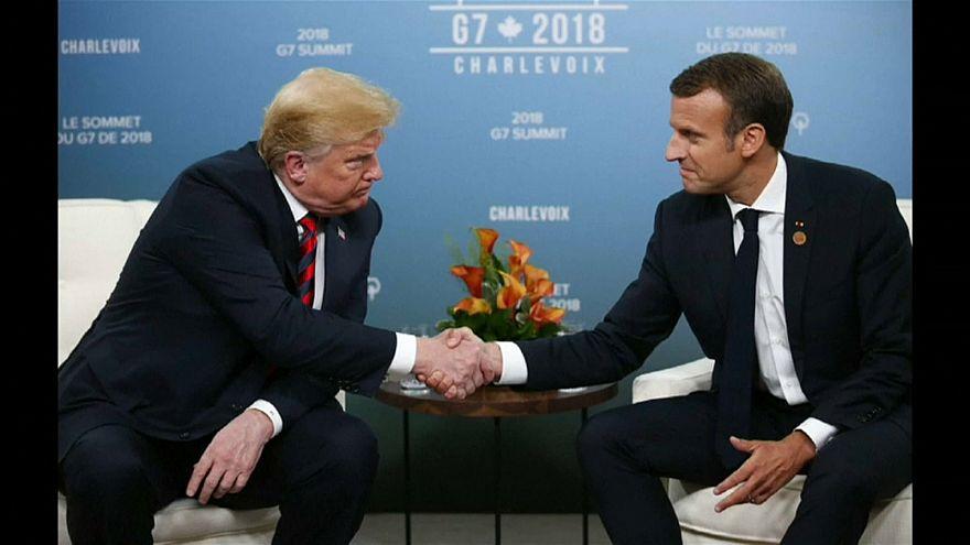 المصافحة بين ترامب وماكرو