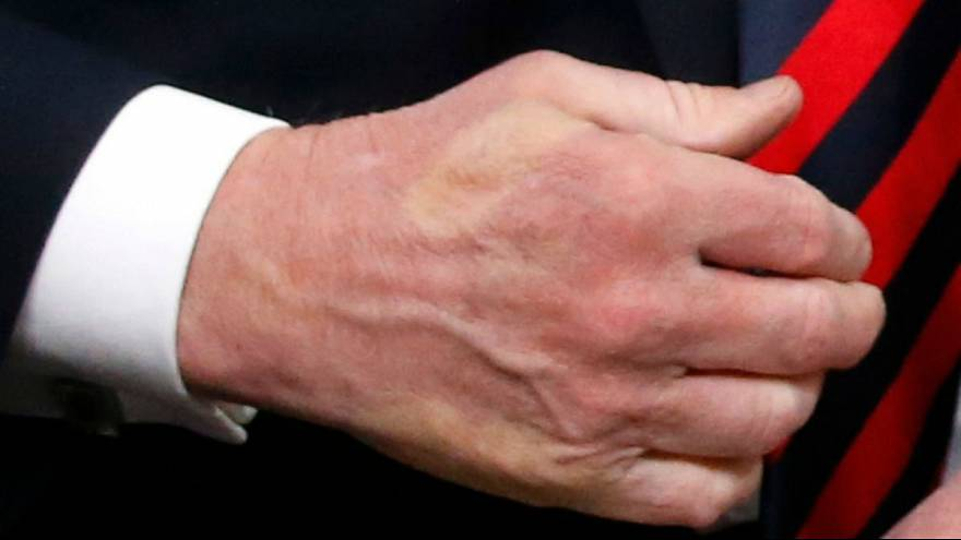 Trump shakes hands with France's President Macron