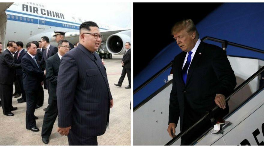 مصافحة بين رئيس كوريا الشمالية ورئيس الوزراء السنغافوري