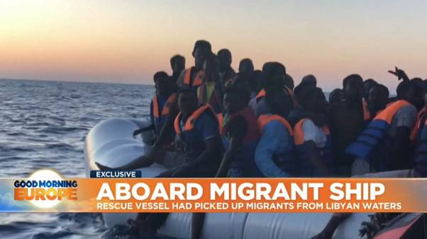 Exclusive report aboard migrant rescue ship barred from docking in Italy