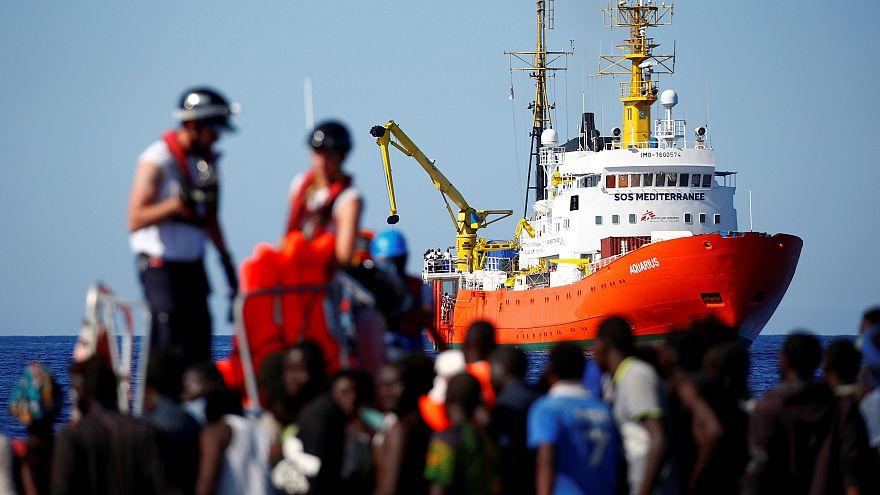 Le navire Aquarius en mer Méditerranée