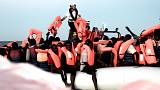 "Parte dos 629 migrantes recolhidos pelo barco de socorro ""Aquarius"""
