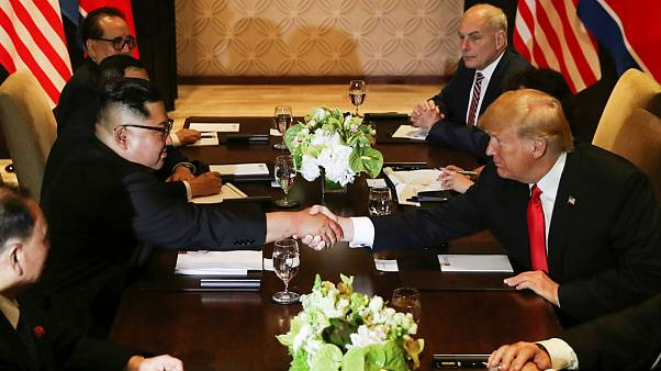 Donald Trump shakes hands with North Korea's leader