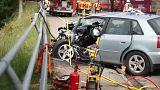 Középiskolások sérültek meg egy buszbalesetben Németországban