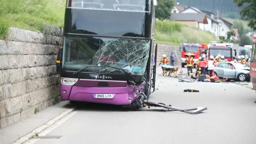 Nine British teenagers injuried in double decker bus crash in Germany