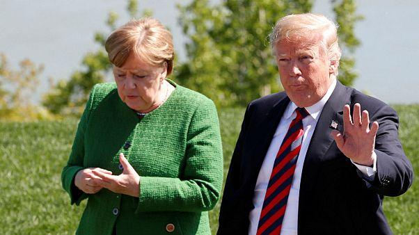 آنگلا مرکل، صدراعظم آلمان در کنار دونالد ترامپ، رئیس جمهوری ایالات متحده