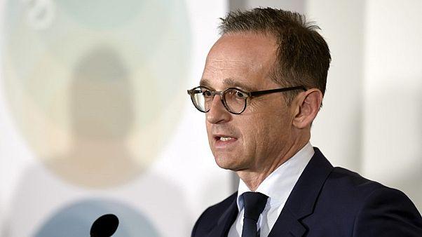 وزير الخارجية الألماني هايكو ماس يتحدث خلال مؤتمر صحفي في هلسنكي