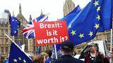 Demonstrators outside the British Parliament