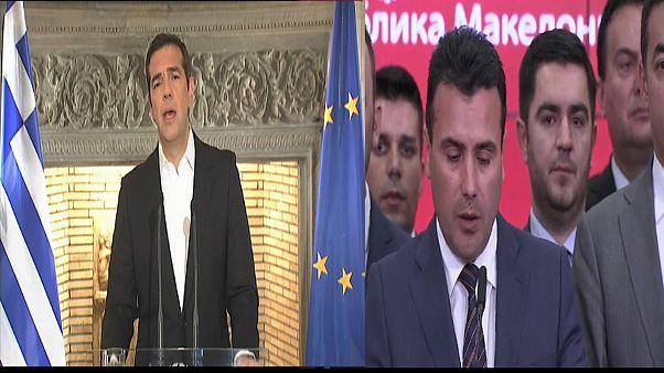 Il premier ellenico Tsipras e il presidente macedone Ivanov
