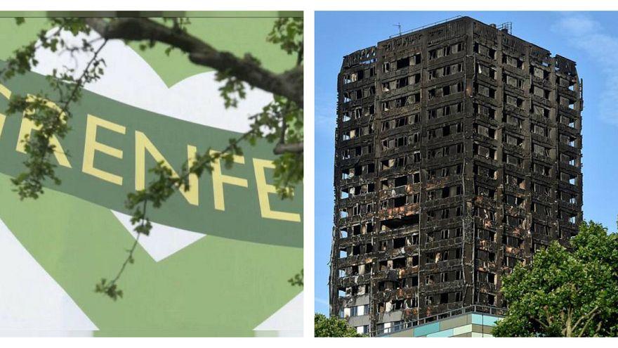 اولین سالگرد فاجعه آتشسوزی گرنفل؛ برج سوخته به رنگ سبز درآمد