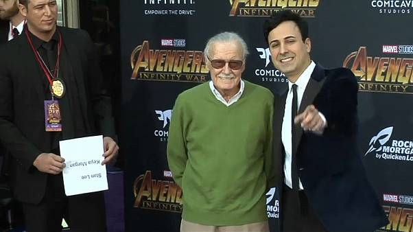 "Stan Lee with Keya Morgan at the premiere of ""Avengers - Infinity War"""