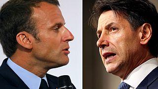Emmanuel Macron+Guiseppe Conte