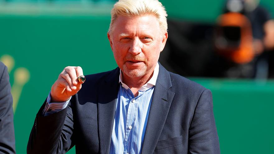 Boris Becker receives a tennis hall of fame award, Monaco, April 2018