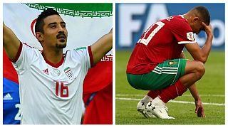 قوچاننژاد و عزیز بوهدوز بازیکنان فوتبال مراکش و ایران در جام جهانی