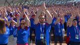 Isländer feiern Fußball-WM mit Vikinger-Rufen