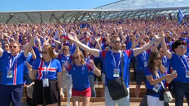 Iceland practise their Viking clap
