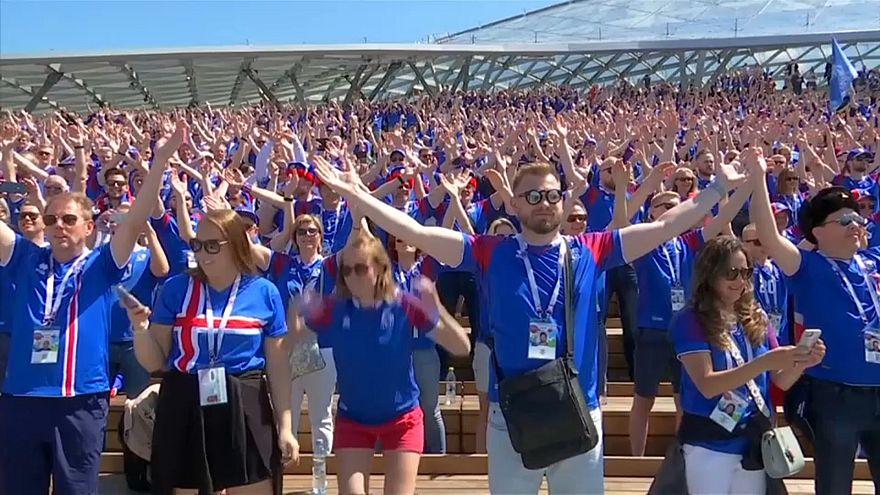 Iceland practise their Viking clap