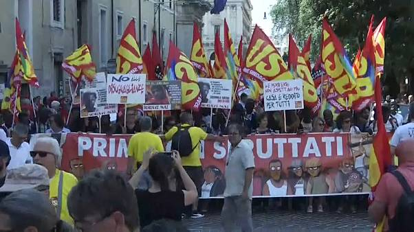 Jornada de protesto em Roma