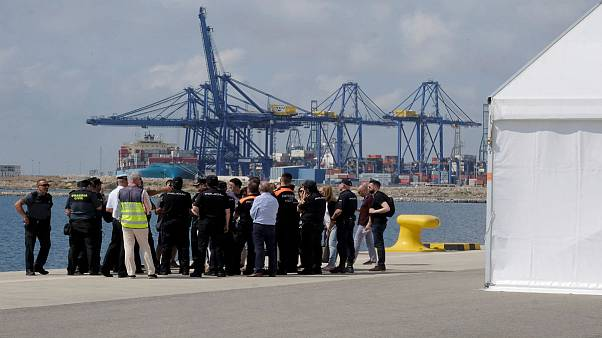 Police and Civil Guard staff next to the point of arrival vessel Aquarius