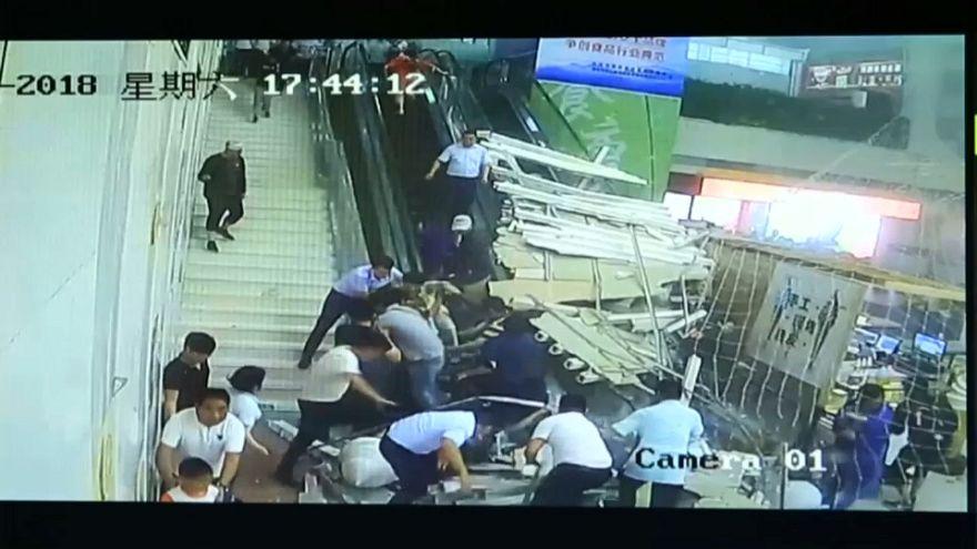 شاهد: انهيار مفاجئ في مركز سياحي شمال الصين