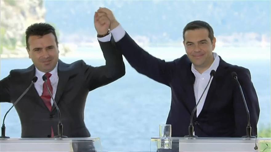 Greek and Macedonian prime ministers hail deal on new name for FYROM.