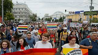 Participants attend the Equality March in Kiev