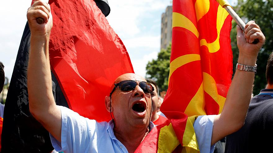 Macedonian opposition supporters protesting against the name change deal