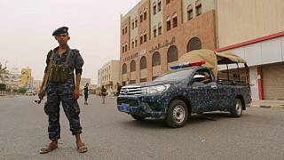 A pro-Houthi police trooper in the city of Hodeidah