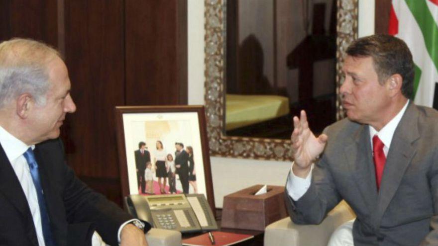 رئيس الوزراء الإسرائيلي بنيامين نتنياهو وعاهل الأردن الملك عبد الله